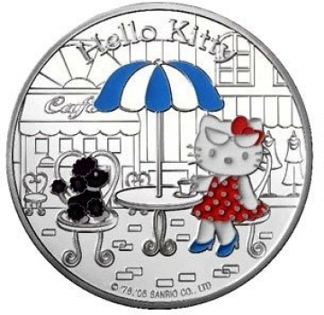 "Франция 1½ евро (1,5 евро) 2005 г., PROOF, ""Hello Kitty - Китти и пудель в кафе"""