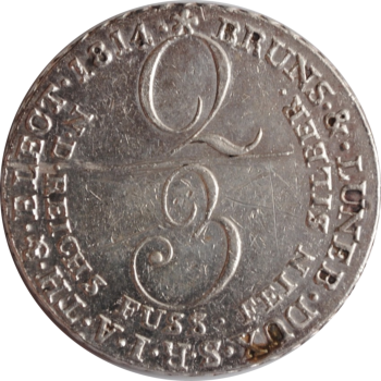 Ганновер 2/3 талера 1814 г., XF-UNC, 'Король Георг III (1760 - 1820)'