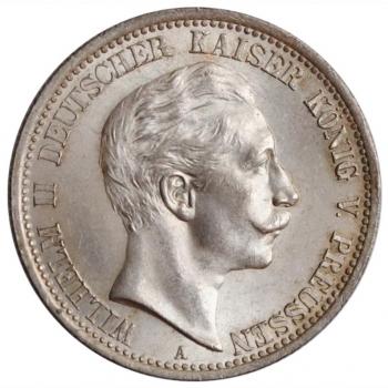 "Пруссия 2 марки 1907 г., UNC, ""Король Вильгельм II (1888 - 1918)"""