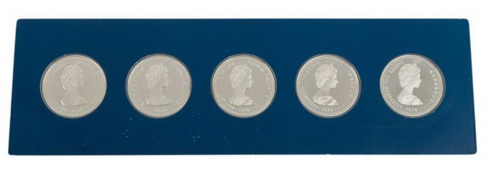 """Британские территории набор 5, 10, 25 долларов 1978 г., PROOF, """"25 лет коронации Королевы Елизаветы II"""""""