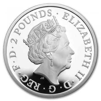 """Великобритания 2 фунта 2020 г., PROOF, """"Звери Королевы - Белый лев Мортимера"""""""