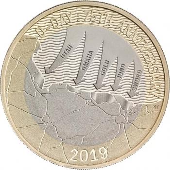 """Великобритания 2 фунта 2019 г., BU, """"75 лет высадке в Нормандии"""""""
