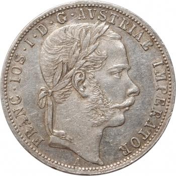 """Австрия 1 флорин 1866 г. A, XF, """"Император Франц Иосиф (1848 - 1916)"""""""