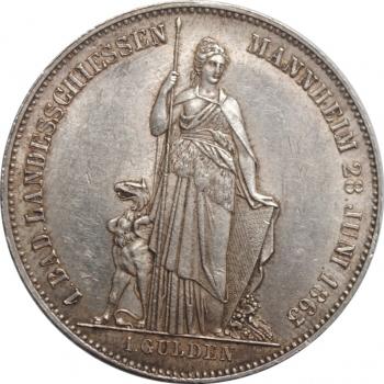 """Баден 1 гульден 1863 г., AU, """"Первый стрелковый фестиваль в Мангейме"""""""