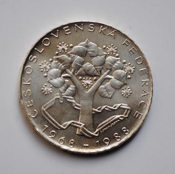 Чехословакия 500 крон 1988 г., BU, '20 лет Чешско-словацкой федерации'
