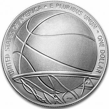 """США 1 доллар 2020 г., NGC MS70, """"Зал славы баскетбола"""""""