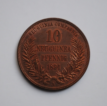 Германская Новая Гвинея 10 пфеннигов 1894 г., UNC, 'Колония Германии (1885 - 1915)'