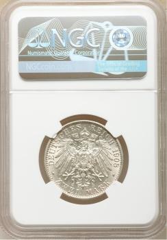 """Саксен-Веймар-Эйзенах 2 марки 1908 г., NGC MS64, """"350 лет Йенскому университету"""""""