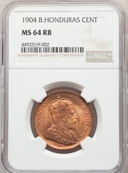 "Британский Гондурас 1 цент 1904 г., NGC MS64 RB, ""Король Эдуард VII (1902 - 1910)"""