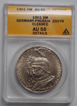 Пруссия 5 марок 1901 г., ANACS AU55, '200 лет Пруссии'