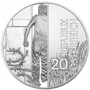 """Австрия 20 евро 2014 г., PROOF, """"25 лет Революции 1989 года"""""""