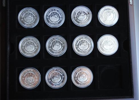 Либерия набор 20 долларов 2000 г., PROOF, 'История авиации' (11 шт.)