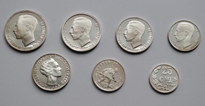 Люксембург редкий набор в серебре 1980 г., PROOF, 'Великий герцог Жан (1964-1999)'
