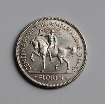 Австралия 1 флорин 1934-35 г., XF, '100 лет со дня основания Виктории и Мельбурна'