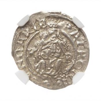 "Венгрия 1 денар 1567 г., NGC MS62, ""Император Максимилиан II (1564 - 1576)"""