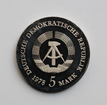 ГДР 5 марок 1978 г., PROOF, '175 лет со дня смерти Фридриха Готлиба Клопштока'