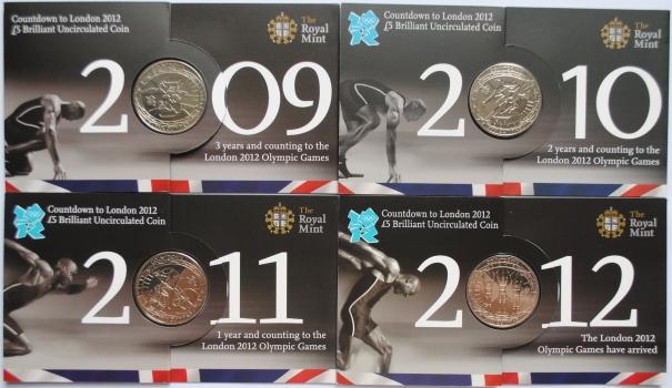 """Великобритания 5 фунтов 2009 - 2012 г., BU, """"Олимпиада Лондон'12 - Обратный отсчет"""""""