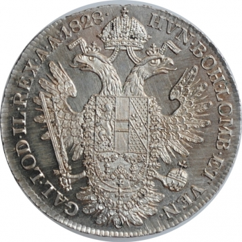 "Австрия 1/2 талера 1828 г. A, UNC PL, ""Император Франц II (1792 - 1835)"""