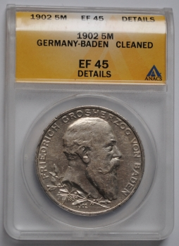 Баден 5 марок 1902 г., ANACS EF(XF)45, '50 лет правлению Фридриха I'