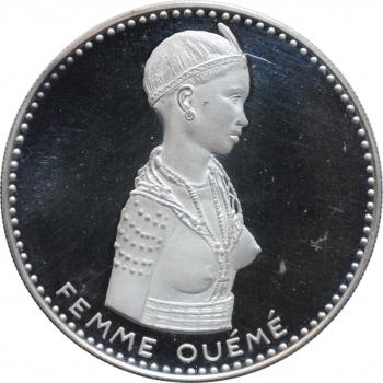 """Республика Дагомея (Бенин) 500 франков 1971 г., PROOF, """"10 лет независимости. Женщина сомба"""""""