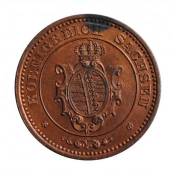 """Саксония 2 пфеннига 1862 г., UNC, """"Король Иоганн (1854 - 1873)"""""""