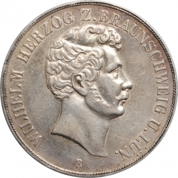 "Брауншвейг 2 талера 1854 г., AU, ""Герцог Вильгельм (1831 - 1884)"""