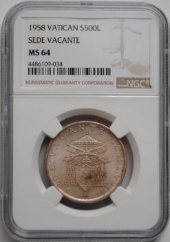Ватикан 500 лир 1958 г., NGC MS64, 'Вакантный престол'