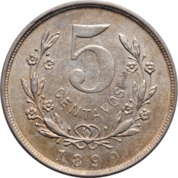 "Никарагуа 5 сентаво 1899 г., UNC, ""Песо (1878 - 1899)"""
