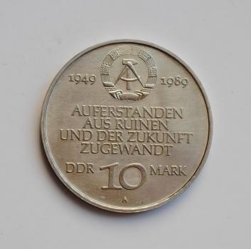 ГДР 10 марок 1989 г., UNC, '40 лет образования ГДР'