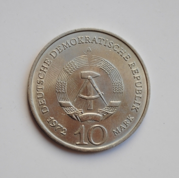 """ГДР 10 марок 1972 г., 'Мемориал """"Бухенвальд"""" около Веймара'"""