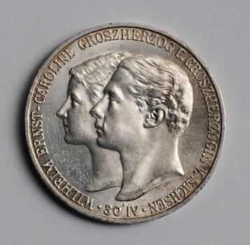 Саксен-Веймар-Эйзенах 5 марок 1903 г., UNC, 'Свадьба Вильгельма и Каролины'