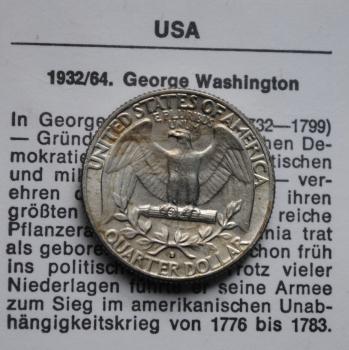 США 25 центов 1964 г. D, AU-UNC