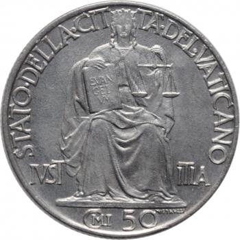"""Ватикан 50 чентезимо 1942 г., BU, """"Папа Пий XII (1939 - 1958)"""""""