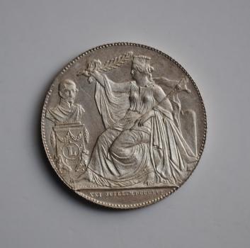 Бельгия 2 франка 1856 г., UNC, '25-летие инаугурации короля Леопольда I'