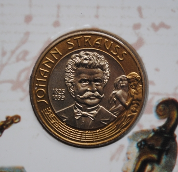 Австрия 50 шиллингов 1999 г., BU, '100 лет со дня смерти Иоганна Штрауса'