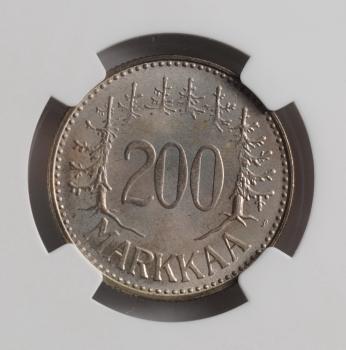 "Финляндия  200 марок 1959 г. S, NGC MS66, ""Финляндская Республика (Suomi) (1918 - 1962)"""