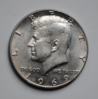 США 50 центов 1969 г. D, XF-AU