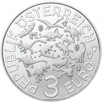 """Австрия 3 евро 2021 г., BU, """"Супер динозавры - Дейноних /Deinonychus/"""""""