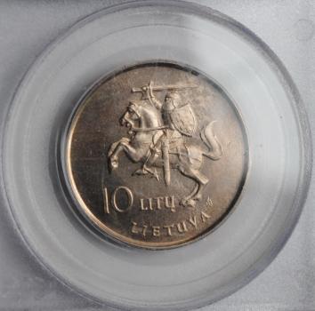 Литва 10 лит 1993 г., PCGS MS64, '60 лет перелёту Дарюса и Гиренаса через Атлантику'