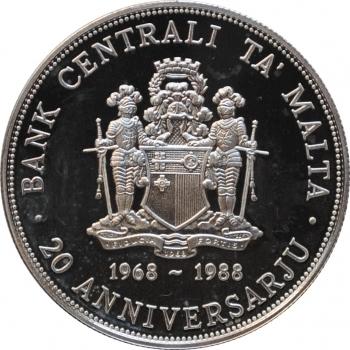 """Мальта 5 лир 1988 г., PROOF, """"20 лет Центральному банку Мальты"""""""