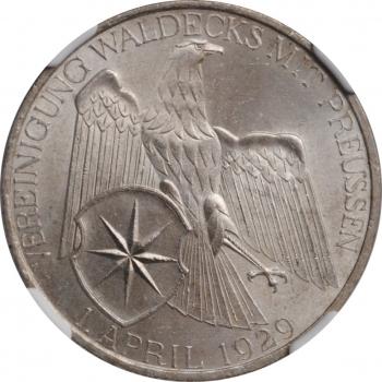 """Веймарская Республика 3 рейхсмарки 1929 г. A, NGC MS64, """"Объединение Вальдека и Пруссии"""""""
