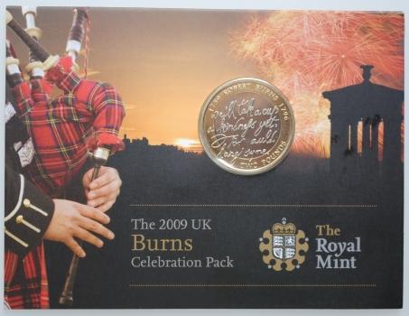 """Великобритания 2 фунта 2009 г., BU, """"250 лет со дня рождения Роберта Бёрнса"""""""