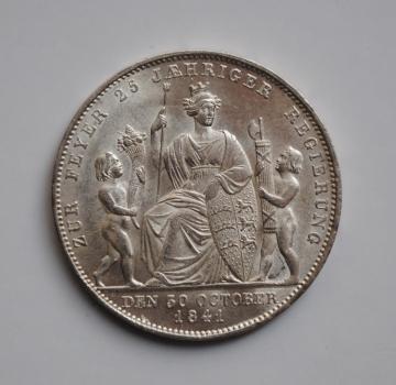 Вюртемберг 1 гульден 1841 г., UNC, '25-летие правления короля Вильгельма'