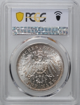 """Бавария 5 марок 1908 г., PCGS MS64, """"Король Отто І (1886 - 1913)"""""""