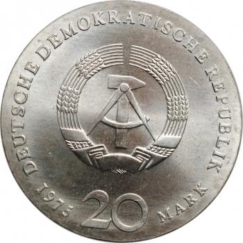 "ГДР 20 марок 1975 г., BU, ""225 лет со дня смерти Иоганна Себастьяна Баха"""
