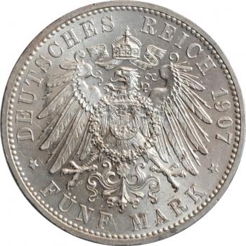 """Баден 5 марок 1907, BU, """"Смерть Фридриха I"""""""