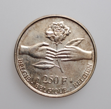 """Бельгия 250 франков 1999 г., UNC, """"Свадьба Принца Филиппа и Принцессы Матильды"""""""