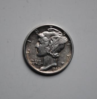 США 10 центов 1942 г., XF