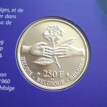 Бельгия 250 франков 1999 г., PROOF, 'Свадьба Принца Филиппа и Принцессы Матильды'