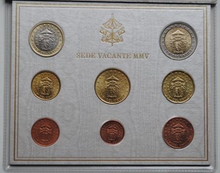 Ватикан набор евромонет 2005 г., BU, 'Вакантный престол (Sede Vacante)'